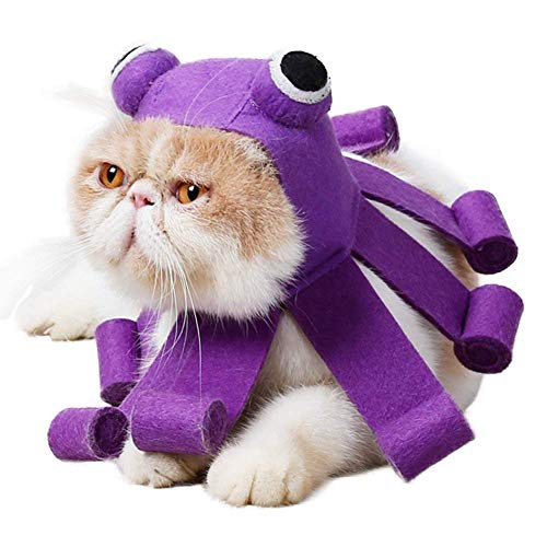 Idepet - Disfraz de Gato para Mascota, diseño de Pulpo púrpura, para Halloween, Eventos navideños, Grandes Ojos y Elegantes, Suave, Ajustable, cómodo, Regulable para Gatos y Perros pequeños