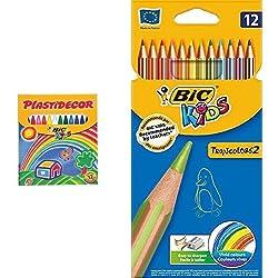 Bic - Pack 12 ceras de colores Plastidecor + 12 lápices de colores Bic Kids