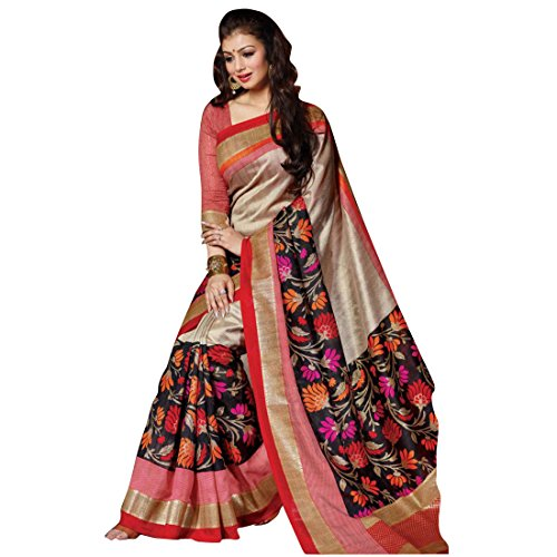 Women'S Clothing Designer Party Wear Collection Low Price Sale Offer Brown and Black Color Bhagalpuri Silk Free Size Saree | Sari  available at amazon for Rs.225