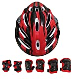 #10: HALO NATION Protective Skating Guard for Kids - Body Guard Set for Kids - Kids Helmet & Protective Guard Kit (1Helmet, 2Knee, 2Elbow & 1Wrist Guard - Red Black)