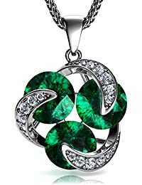 DEPHINI - Green Necklace | 925 Sterling Silver Necklace | Emerald 100% Swarovski® Branded Crystal | Cubic Zirconia Crystals | Fine Jewellery | Friendship Pendant | Gift for Women / Gifts for Her