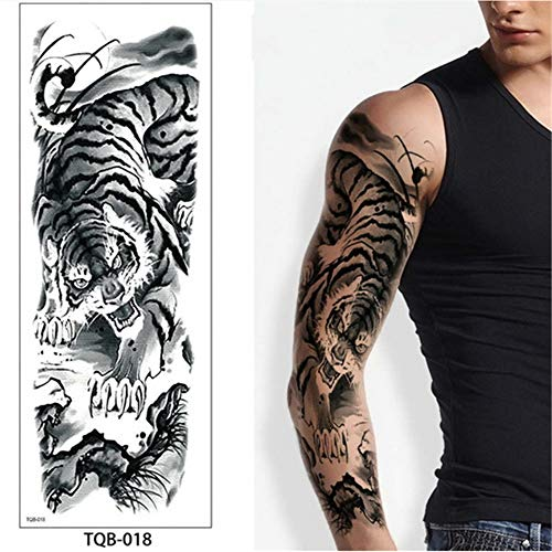 tzxdbh 5 Stücke-Große Armmanschette Tattoo Maori Power Totem Wasserdicht Temporäre Tätowierung Aufkleber Krieger Samurai Engel Schädel Männer Full Black Tatoo 5 Stücke-