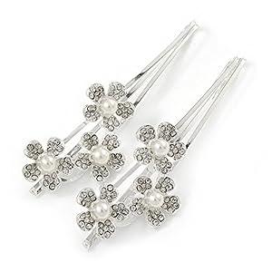 2 Blumen-Haarspangen mit Perle für Bräute/ Bälle mit transparentem Kristall und Rhodiumbeschichtung