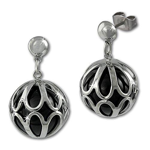 Adamello orecchini in acciaio inox sfera con agata nera e orecchini anello in acciaio inox gioielli Stainless Steel ESOY01S