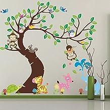 eoyhdsia animales de la selva Mono árbol búho pared vinilo para habitación Decal