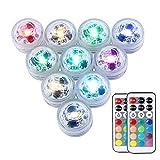 10Pcs RGB LED Luz Sumergible,Impermeables Multicolores LED Luz Sumergible con Control Remoto Para Fiesta,Base de Jarrón,Boda,Navidad,Decoración