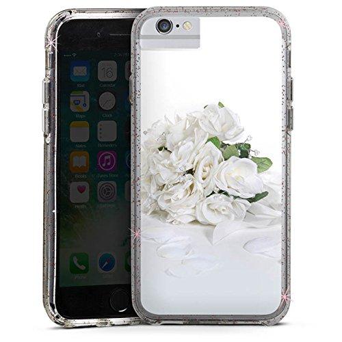 Apple iPhone 6s Bumper Hülle Bumper Case Glitzer Hülle Rosenstrauss Hochzeitsstrauss Rosenblaetter Bumper Case Glitzer rose gold