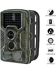 Camara de Caza, Aidodo Camara Nocturna Caza Impermeable con Visión Camara Caza 12MP 1080P HD Impermeable Infrarrojo Sensor de Movimiento 25M Cámara de Vigilancia 49 Piezas LEDS 120º Angulo Amplio Con Sensor de Movimiento