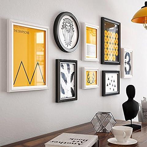 HJKY Photo Frame Wall Set Moderne minimaliste photos peintures murales décorent la petite case combinaison mur mur mur créatif murs chambre continental ,9201 Photographie noir et