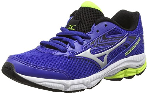 Mizuno - K1GC1627 - Tour De Formation, Enfant Bleu (Surf the Web/Silver/Safety Yellow)