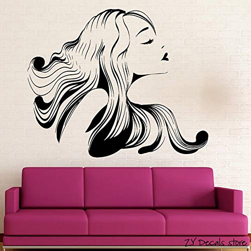 Hot  Girl Wall Decals Hair Salon Beauty Spa Wall Sticker Removable Art Mural For Gilrs Bedroom Living Room Wall Decor  56x68cm