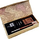 Gc Kalligraphie-Stift-Set, mit handgefertigtem Stift aus Holz, 3 Spitzen, schwarzer Tinte, Flasche und Stifthalter, LL-58