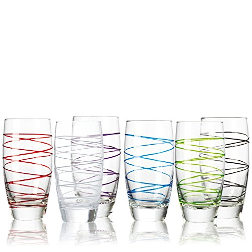 montana LD Becher :swirl 6/Set farbig sortiert, Longdrinkbecher Saftbecher Wasserglas (Aus Bogen Farbigem Glas)