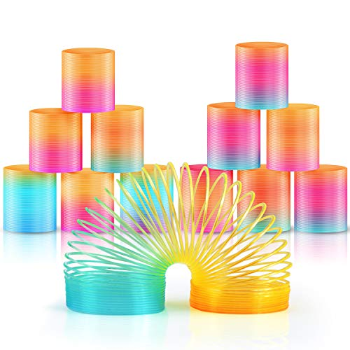 Heatigo 12pcs treppenläufer spirale Rainbow Spiral Springs Rainbow for Party Bag Fillers Toy Plastic Rainbow Circle Toy
