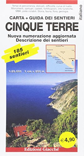Cinque Terre. Carta + Guida dei sentieri. 185 sentieri, scala 1:25.000