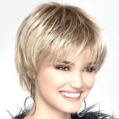 Kurze Perücke Zarter Stufenschnitt Wig Strähnen Farbverlauf flauschig Little gewellt für Mitte Alter Frauen Office Lady -