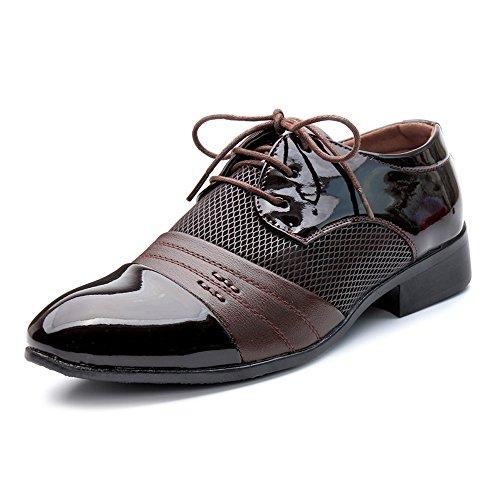 Apragaz Mode Herren Business Schuhe Glatt Pu-Leder Splice Obere Lace Up Atmungsaktive Mesh Oxfords (Color : Braun, Größe : 47 EU) Mesh-oxford