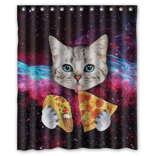 Dreaman 60 X 72''Waterproof Bathroom Cat Eat Pizza Shower Curtain Polyester Fabric Shower Curtain