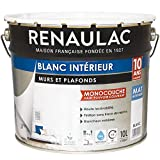 Renaulac Peinture intérieur Murs & Plafonds Monocouche Acrylique Blanc Mat 10L - 100m²...