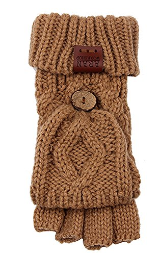 Aran Workshop Sand Beige Foldover Cable Knit Fingerless Mitts - Cable Knit Mitt