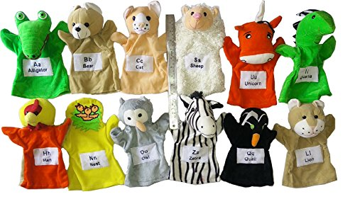 Sofix Hand Puppets Big Animals Soft Toys - Set of 12 - 9 inch/23 cm