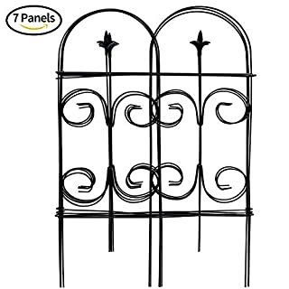 Amagabeli Decorative Garden Fence 32in x 12ft Fencing Rustproof Black Iron with Fleur De Lis Decoration Folding Wire Patio Fencing Border Edge Sections Edging Flower Bed Barrier Decor Patio Fences