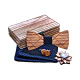 Kuty Nœud Papillon En Bois Set Homme Noeud Papillon + Boutons de manchette(2pcs) + Carrés de Poche + Broche Avec Boîte Pour Fête De Mariage (Blue)
