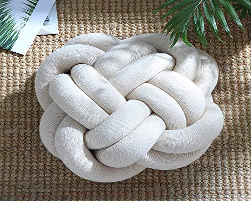 HezongDirect Baby Knoten-Kissen, Knoten-Ball-Kissen, Schlafzimmerkissen Plüsch, Heimdekoration, Knoten-Kissen, Plüsch-Spielzeug zum Schlafen beige