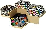 Scatola in cartone esagonale set colori 52 pezzi con pastelli pennarelli acquerelli colori a cera