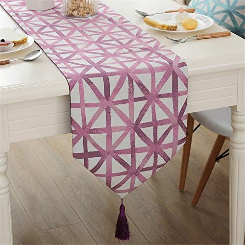 Reis-bett-möbel (Multi-Table Einfaches und modernes geometrischer förmigen Reis gelb TischläuferTV -Möbel Couchtisch Bar Mahlzeit Flagge Flagge Flagge dekoriert Bett,Licht lila, 32X200CM)