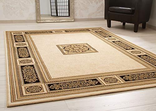 Steffensmeier Wohnzimmerteppich Classical Quality | Kurzflor Teppich in Creme Gold, Größe: 200x290 cm, Isfahan Perserteppich orientalisch gemustert