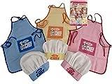 PMS - Set da cuoco per bambini, con cappello e grembiule, colore: Giallo/Rosa/Blu