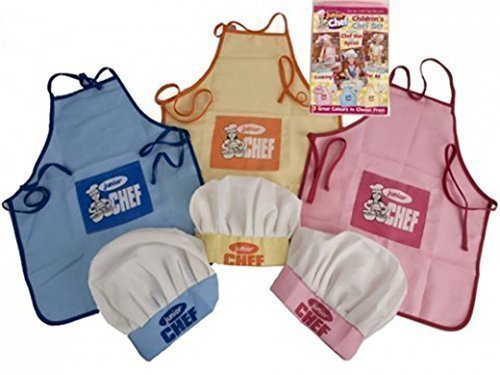 JUNIOR CHEF, CHILDRENS CHEF SET INCLUDES CHEF HAT AND APRON, COLOUR MAY VARY