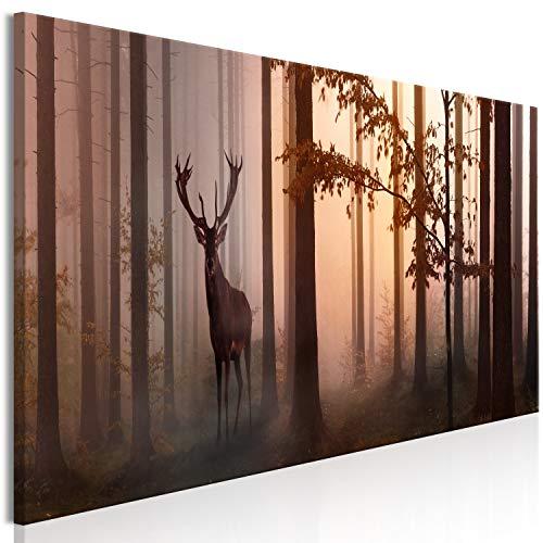 murando - Bilder Wald Hirsch 150x50 cm Vlies Leinwandbild 1 TLG Kunstdruck modern Wandbilder XXL Wanddekoration Design Wand Bild - Landschaft Bäume c-C-0239-b-b Hirsch-design