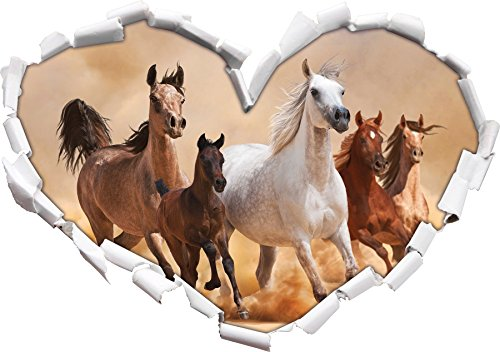 cavalli occidentali nel deserto con forma di cuore puledro nel formato sguardo, parete o adesivo porta 3D: 92x64.5cm, autoadesivi della parete, Stickers murali,