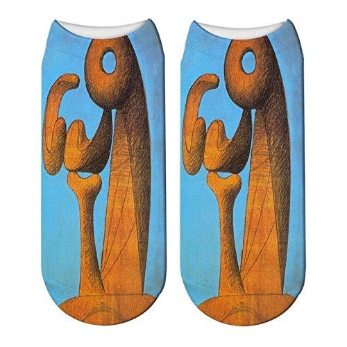 QXCWZ 3 Paare Frauen Männer 3D Gedruckt Picasso Abstrakte Malerei Denkmal Malerei Kurze Söckchen 4