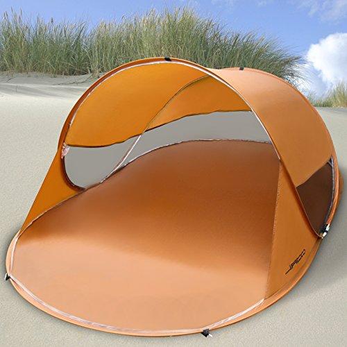 Jago Strandmuschel für 2 Personen | Pop-Up Wurfzelt, 245x145x95cm, in Sudan Brown | Campingzelt, Strandzelt, Sonnenschutz