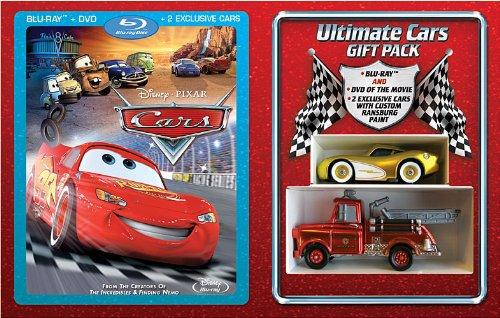 Preisvergleich Produktbild Disney Cars Gift Set (Combo Pack with DVD) [Blu-ray] (region 1 !!) + Exclusive Golden Lightning Mcqueen and Ransburg Paint Mater / Hook