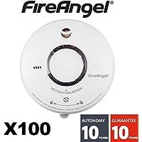 FireAngel–Set di 100–Rilevatore di fumo NF Fireangel ST620–Durata 10anni–Garanzia 10Anni
