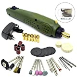 KOBWA Mini Electric Drill with Accessories Set - Trimming Polishing Drilling Cutting Engraving DIY Hand Tool Kit for Wood Jade Stone Small Crafts