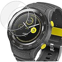 Protector de Pantalla para Huawei Watch 2 (2-Pack), Olycism Ajuste Perfecto [Alta Definición, 9H Dureza, Anti-arañazo, No hay Burbujas] Ultra resistente Vidrio Templado Cristal Protector