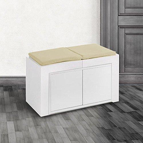Montefioredesign - Panca Allungabile Fino A 3Mt Bianco Opaco Con Cuscini In Ecopelle Tortora Mod. Mya