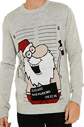 Threadbare - Pull - Homme rouge Red Small Drunk Jail Santa - Grey Marl