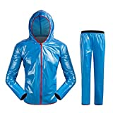 West Biking Damen & Herren Outdoor Fahrrad Regenanzug Jacke + Hose, wasserdicht, atmungsaktiv, damen Herren, blau, Tag XL=US Male M=Female L