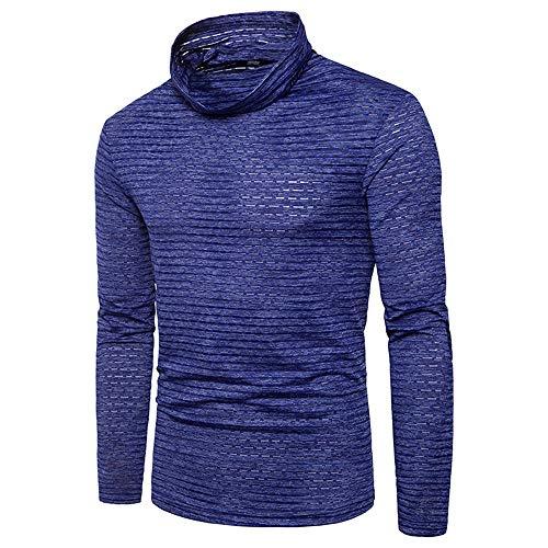 Weentop Herren Slim Pullover Heaps Kragen Unterhemd Bambus Korn Basis Shirt Erwachsene ComfortSoft Freizeit Langarm T-Shirt (Farbe : Blau, Größe : XL) (Pullover Korn)