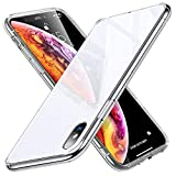 ESR Coque iPhone XS/X Blanc Silicone, Coque avec Revêtement Arrière en Verre...