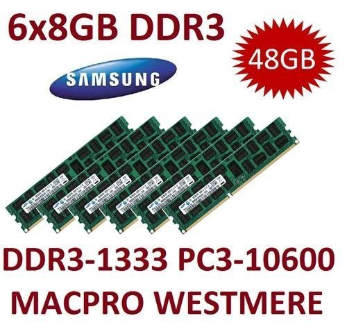 48 GB Triple Channel Kit Samsung (Mihatsch & Diewald) 6 x 8 GB DDR3 1333 mhz PC3-10600R 240 pin, ECC, Dual Rank, 1,5 V, CL9 con sensore termico per sistemi MacPro 4,1 5,1