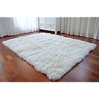 Tapis Peau De Mouton Rectangulaire 150 x 200 cm Carrée Laine Douce, Tapis de Createur, Fourrure Tapis Shaggy (Blanc)