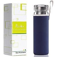 Reeho® Transparente 510ml Deportes Borosilicato Botella de Agua de Vidrio con Funda de Nailon y el Filtro de Acero Inoxidable [Libre de BPA] (Azul Marino, 510ml)