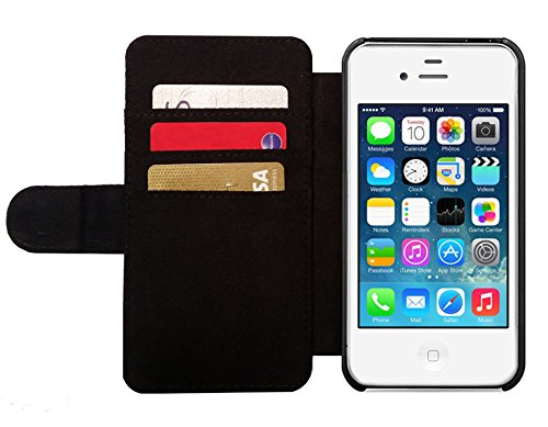 Leder Flip Case Tasche Hülle für Apple iPhone 4/4S - Abstrakt Vintge Baseball by Gatterwe Lederoptik